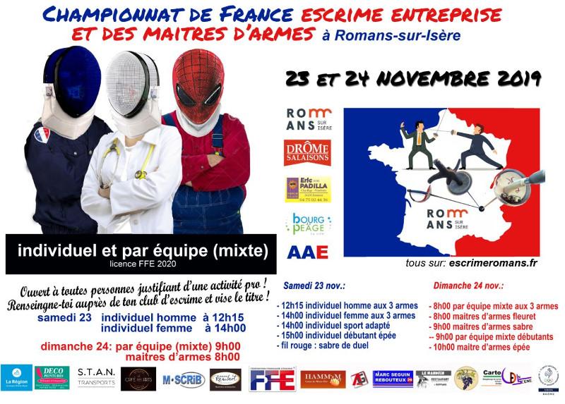 """Affiche Ch de France 2019 """"Escrime Entreprise"""" et """"Maîtres d'armes"""" les 23-24 novembre 2019 à ROMANS"""