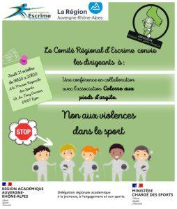 Non aux violences dans le sport @ Maison Régionale des Sports - Lyon 7